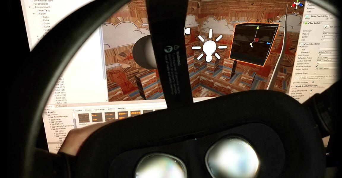 Photo du casque VR Oculus Quest devant l'écran d'un projet avec Unity 3D